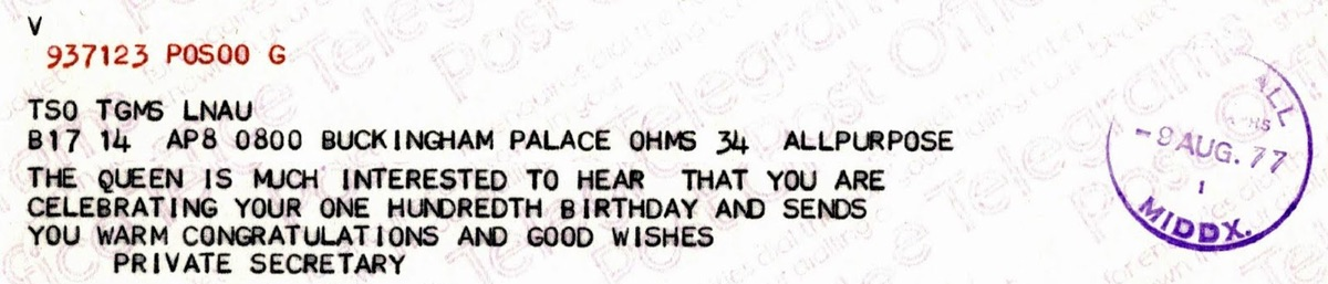 Telegram from the Queen for 100th birthday