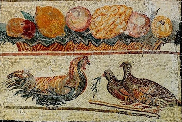 Roman mosaic of a fruits and chickens