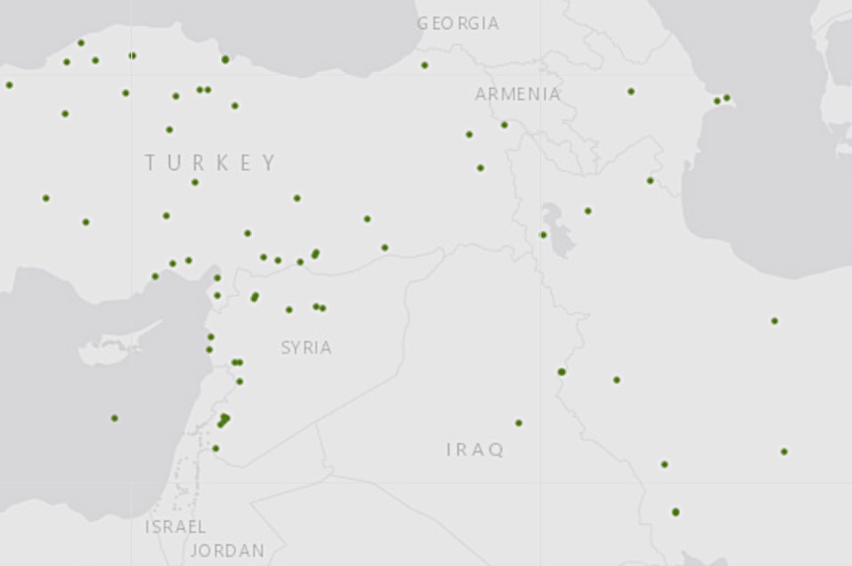 Map of accessions in the Middle East