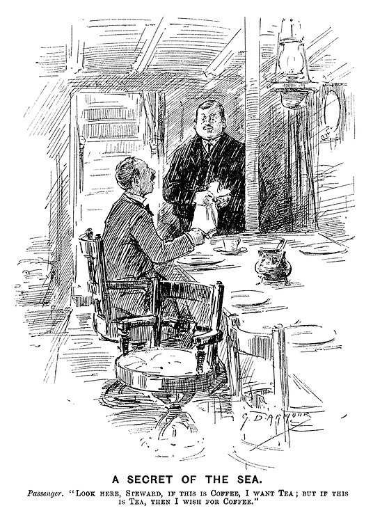 Punch cartoon A secret of the Sea. Passenger Look here Steward, if this is coffee, I want tea; but if this is Tea, then I wish for coffee