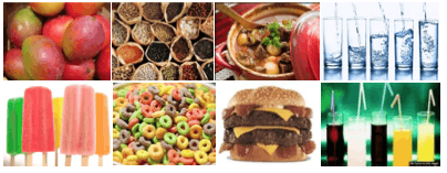 Unprocessed foods above and ultraprocessed foods below