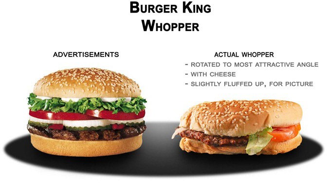 Side by side comparison of advertisement and actual Burger King Whopper